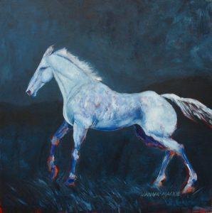 Wild horse, original art, blue bassoon